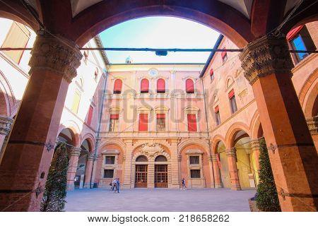 BOLOGNA , ITALY - may, 29, 2017: palace yard in a center of Bologna