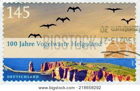 GOMEL, BELARUS, 15 DECEMBER 2017, Stamp printed in Germany shows image of the 100 Jahre Vogelwarte Helgoland, circa 2010.
