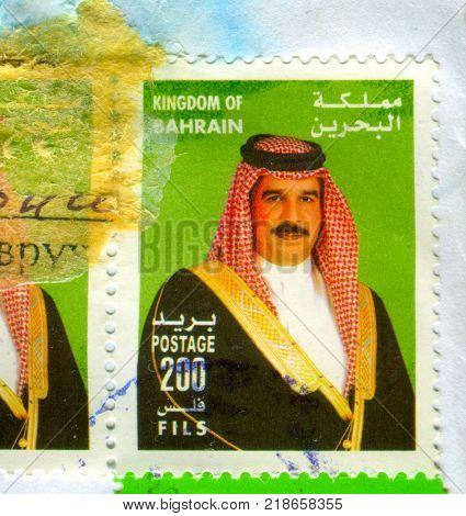 GOMEL, BELARUS, 17 DECEMBER 2017, Stamp printed in Kingdom Of Bahrain shows image of the Hamad bin Isa bin Salman Al Khalifa is the 1st King of Bahrain, circa 2017.