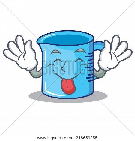 Tongue out measuring cup character cartoon vector illustartion