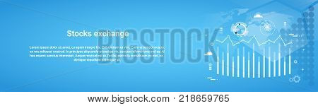 Stock Exchange Concept Business Horizontal Web Banner With Copy Space Flat Vector Illustration