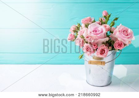 Tender pink roses flowers in pot on white wooden background against turquoise wall. Floral still life. Selective focus. Place ffor text.