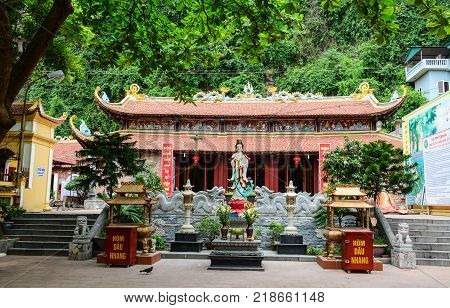 Ha Long Vietnam - May 23 2016. A Buddhist temple in Ha Long Vietnam. Ha Long a city on Vietnam northern coast is a jumping-off point for Ha Long Bay.