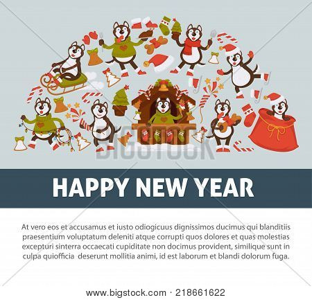 Happy New Year 2018 poster with Husky dog in festive warm clothes, in wooden house with Christmas decorations and winter sledges isolated cartoon flat vector illustrations on white background.