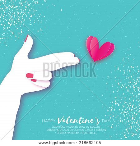 Woman hand making shape of pointed gun.Origami Female holding Two fingers like a revolver. Love Bang. Pink Heart Shot in paper cut style. Valentine day. Romantic Holidays. Vector