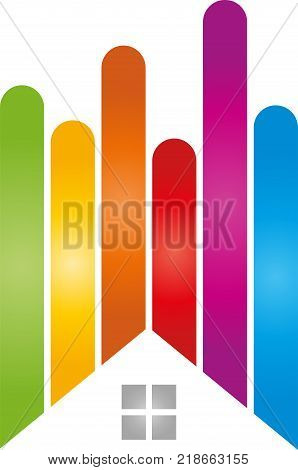 House and lines in color, painter and printing logo
