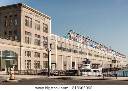 BOSTON, USA - 05.09.2017 Seaport World Trade Center in Boston The building is located on the Boston waterfront at Commonwealth Pier, in the South Boston neighborhood