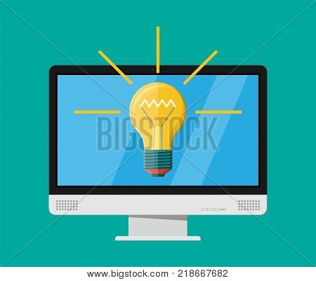 Computer monitor with light bulb. Concept of creative idea or inspiration. Glass bulb with spiral in flat style. Vector illustration