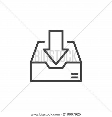 Inbox line icon, outline vector sign, linear style pictogram isolated on white. Download box symbol, logo illustration. Editable stroke