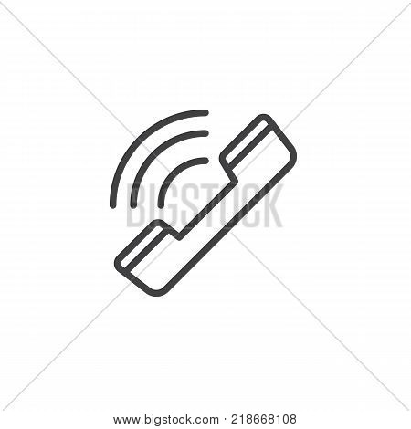 Ringing phone line icon, outline vector sign, linear style pictogram isolated on white. Phone call symbol, logo illustration. Editable stroke