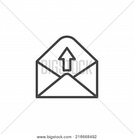 Outgoing message line icon, outline vector sign, linear style pictogram isolated on white. Send e-mail symbol, logo illustration. Editable stroke