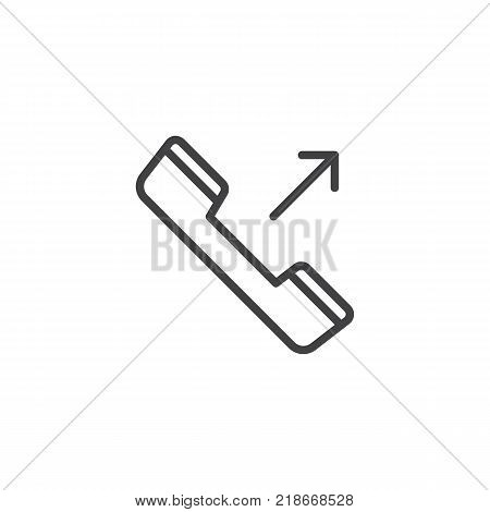 Outgoing phone call line icon, outline vector sign, linear style pictogram isolated on white. Symbol, logo illustration. Editable stroke