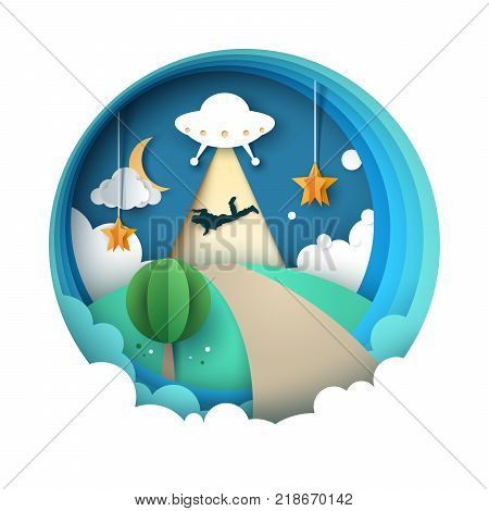 UFO kidnaps a person - cartoon paper illustration. Vector, eps 10