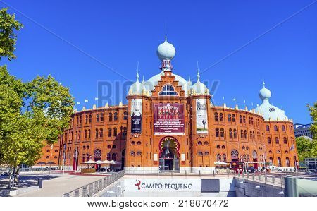 LISBON, PORTUGAL - SEPTEMBER 13, 2017 Campo Pequeno Bullring Bullfight Arena Lisbon Portugal. Builit in the late 1800s. Bulls are not killed i Portuguese bullfights