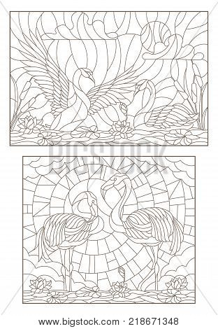 Set contour illustrations of stained glass with birds on the pond a pair of swans and a pair of flamingos