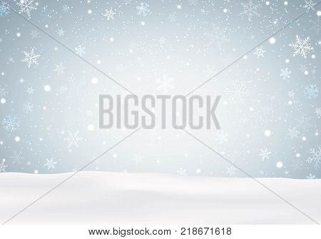 Christmas landscape with snowflakes and snowing. Vector illustration