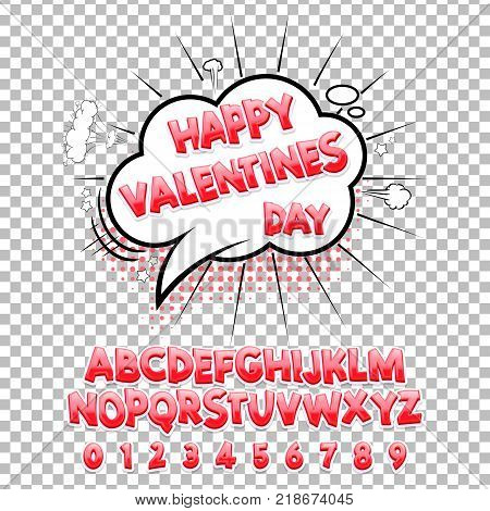 Comic lettering font Happy Valentines Day 3d. Vector alphabet.Hand Lettering script font. Typography alphabet for Designs: Logos, Packaging Design, Poster. ABC...