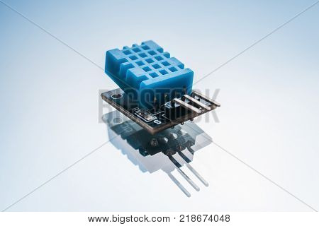 electronics component on white background. detail for the design of smart home technology. microelectronics industry