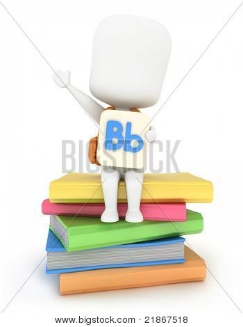 3D Illustration of a Kid Holding a Flash Card with the Letter B