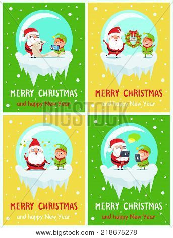 Merry Christmas and Happy New Year postcard Santa and Elf sending greetings via tablet, holding wreath, fatigue characters, reading wish list vector