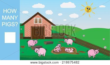 Counting game for preschool children. Count how many pigs educational mathematical game. Vector illustration.