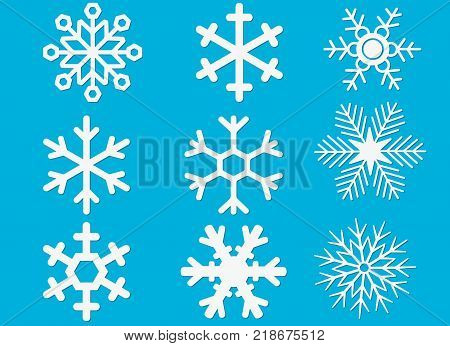 Set of laser cutting openwork snowflakes. Template for cut out paper snowflake isolated on blue background. Vector silhouette, stencil for scrapbooking, woodcut, carved wood. Snowflakes icon. poster