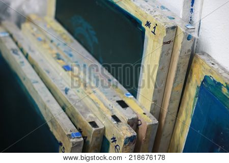 Silk screen frames for using in textile business.
