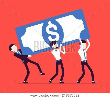 Weight of capital. Young businessmen holding heavy dollar banknote, money fund needing to lift, financial investment difficult to carry. Vector business concept illustration, faceless characters