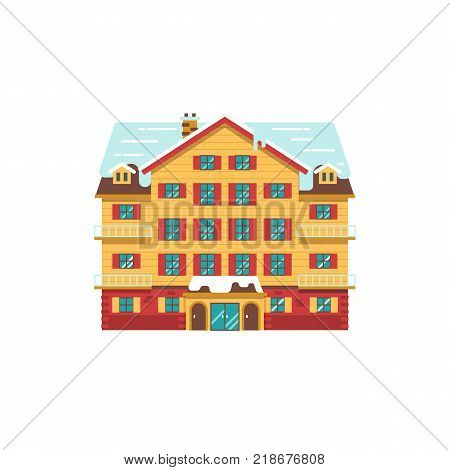 Abstract spa and ski resort icon in flat design. Cartoon winter mountain hotel vector illustration. Snowy holiday inn building isolated on white background.