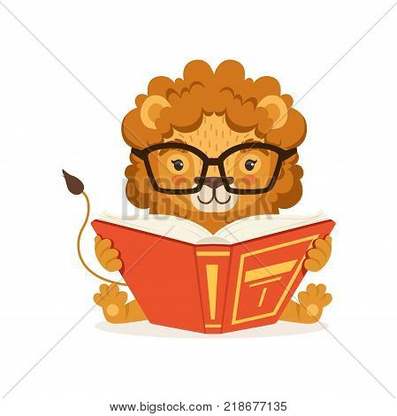 Adorable little lion cartoon character wearing glasses and reading book. Kid safari animal with lush mane. Print for children educational infographic or poster. Flat vector illustration on white.
