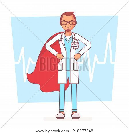 Super male doctor. Best trained, qualified clinic physician, hospital superhero with extraordinary or superhuman powers to save. Medicine and healthcare concept. Vector line art illustration