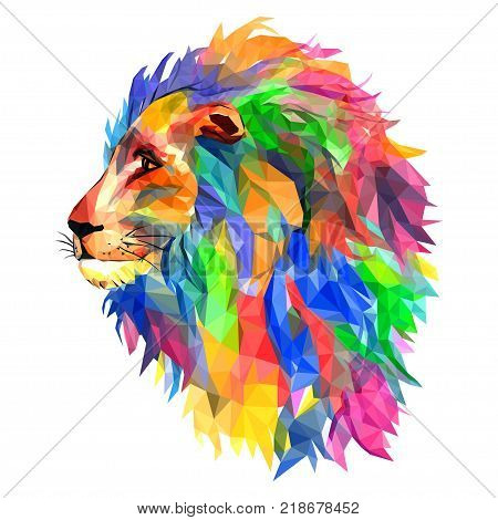 Lion's head king of beasts mosaic. Trendy style geometric on white background. Colorful vector. geometric rumpled triangular. poster