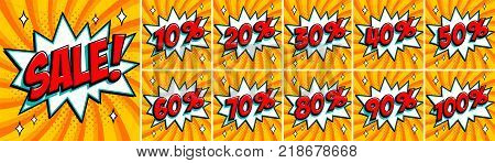 Big orange color sale set. Sale inscription and all percent numbers. orange and red colors. Pop-art comics style web banners, flash animation, stickers, tags. Vector illustration