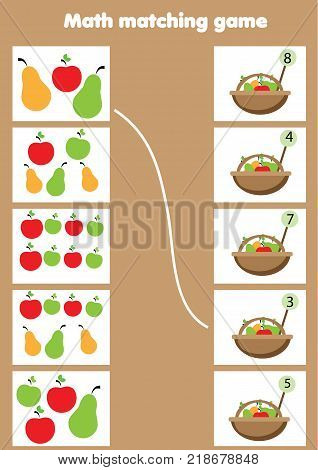 Math educational game for children. Matching mathematics activity. Counting game for kids.