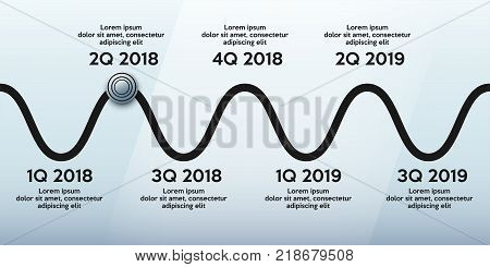Business concept of timeline roadmap. Task execution plan in road map style. Wave path with points. Infographic for investors. Vector Illustration.