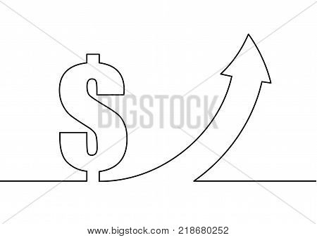 Dollar sign and up arrow on white background. Continuous line drawing.