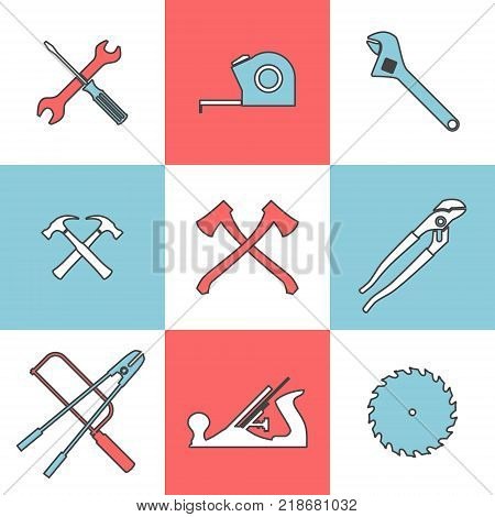 Flat line icons set of handtools axe saw hummer pliers wrench. Flat design style modern vector illustration