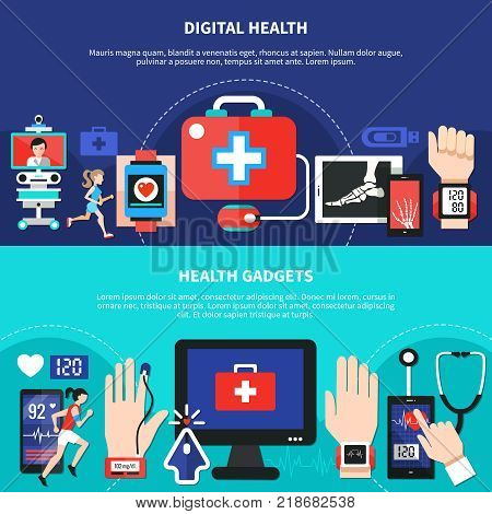 Digital health gadgets devices apps 2 horizontal flat banners set with first aid symbol isolated vector illustration