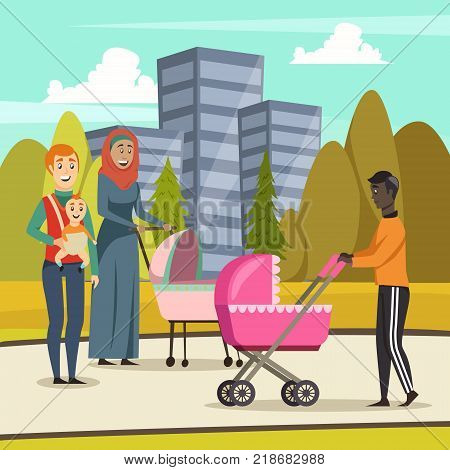 Orthogonal background with fathers and infants at stroll in city park during parental leave vector illustration