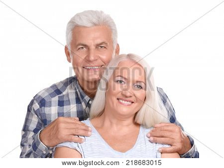 Mature couple against white background