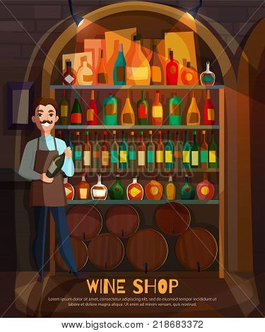 Wine shop with wine collection and variety symbols flat vector illustration