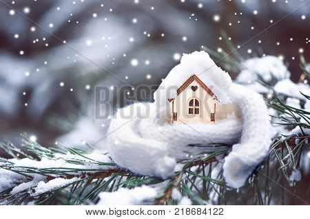 Christmas Toy house is wrapped in a warm scarf it's snowing.on a natural natural background of a real fir in the snow toned. Concept of winter Christmas new year warm cozy loving protecting the house. We prepare the house for the cold.