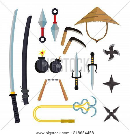 Ninja Weapons Set Vector. Assassin Accessories. Star, Sword, Sai, Nunchaku. Throwing Knives Katana Shuriken Isolated Illustration