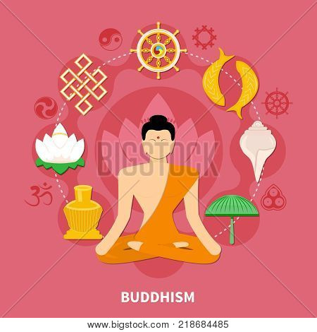 Religions flat and colored composition with Buddhism main features of the religion vector illustration