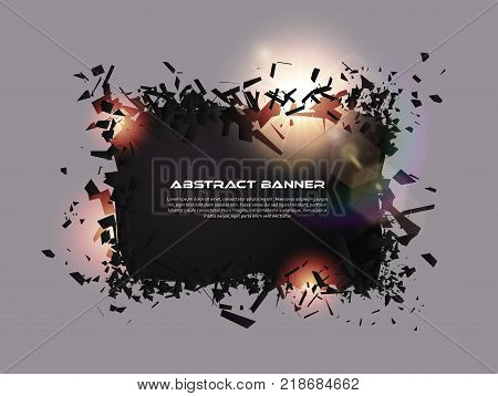 Speech Bubble, Exploding Effect. Abstract Explosion Black Pieces With Lens Flare. Explosive Destruct