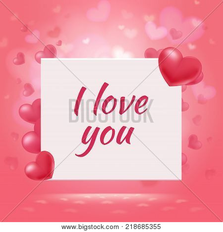 Happy Valentines Day romantic background with red elegant hearts and amorous inscription on white card vector illustration