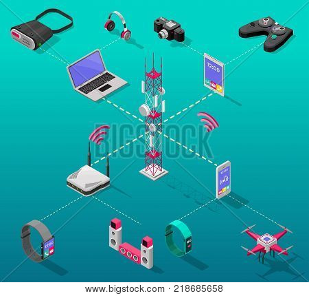 Isometric internet technology concept with wireless signals from radio tower to electronic devices and gadgets isolated vector illustration