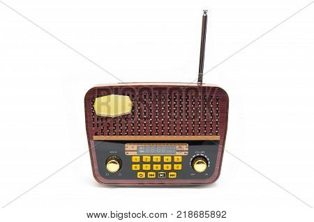 Vintage retro look MP3 player on isolated White Background. Good Old Memories Radio Transistor in present day.