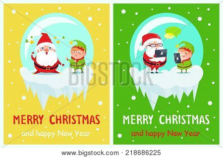 Merry Christmas and Happy New Year postcard Santa and Elf fatigue characters, sending greetings via tablet and smartphone, chatting in Internet vector