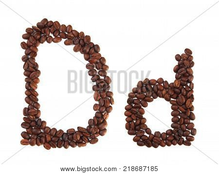 Letter D made of coffee beans isolated on white. Concepts: alphabet logo creative coffee hand made words symbols.